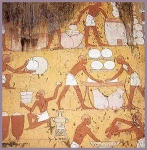 jeroglíficos egipcios de la elaboración del pan